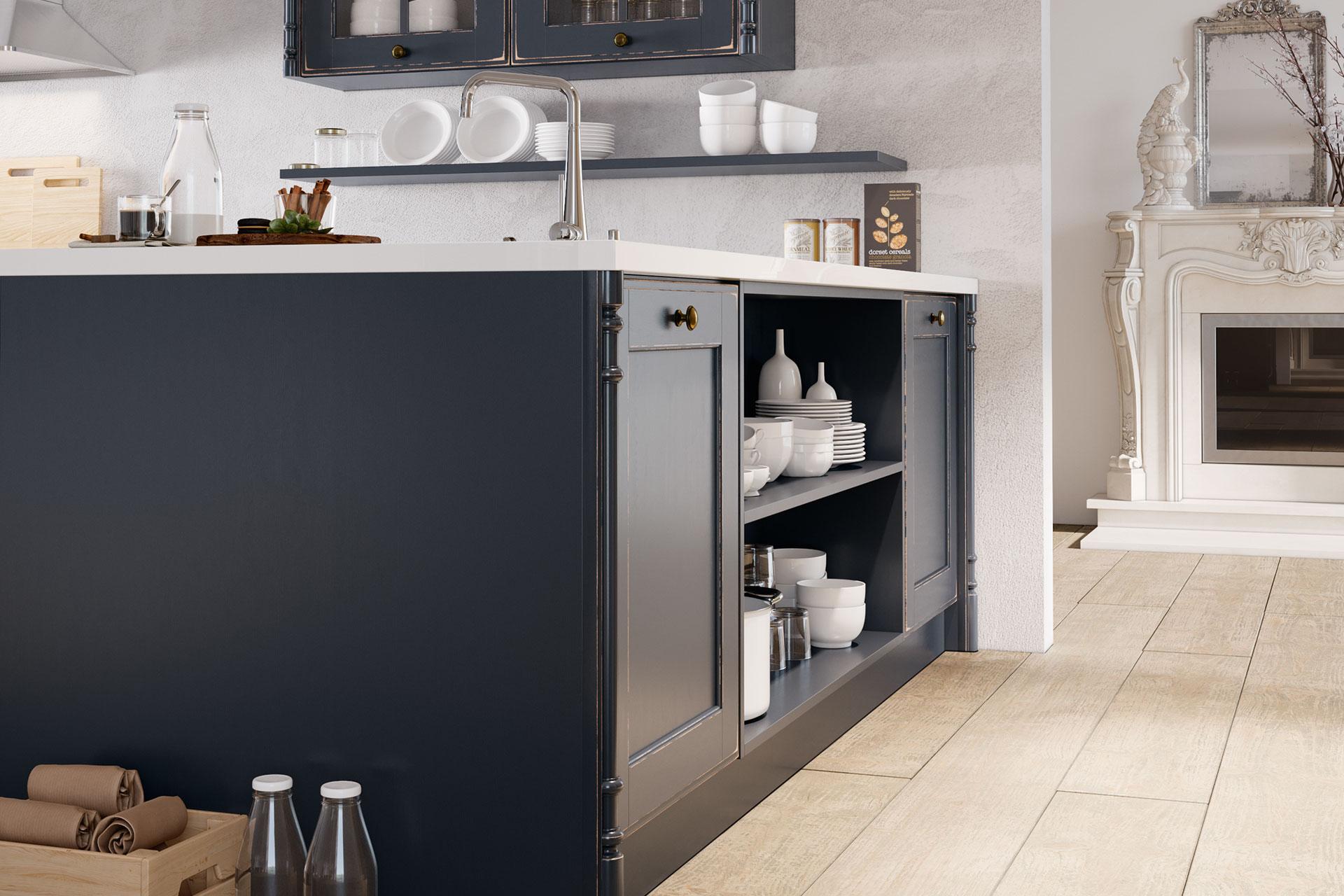 Modell OLDHAM in Night Grey, Detail offene Fächer, Oster Küche