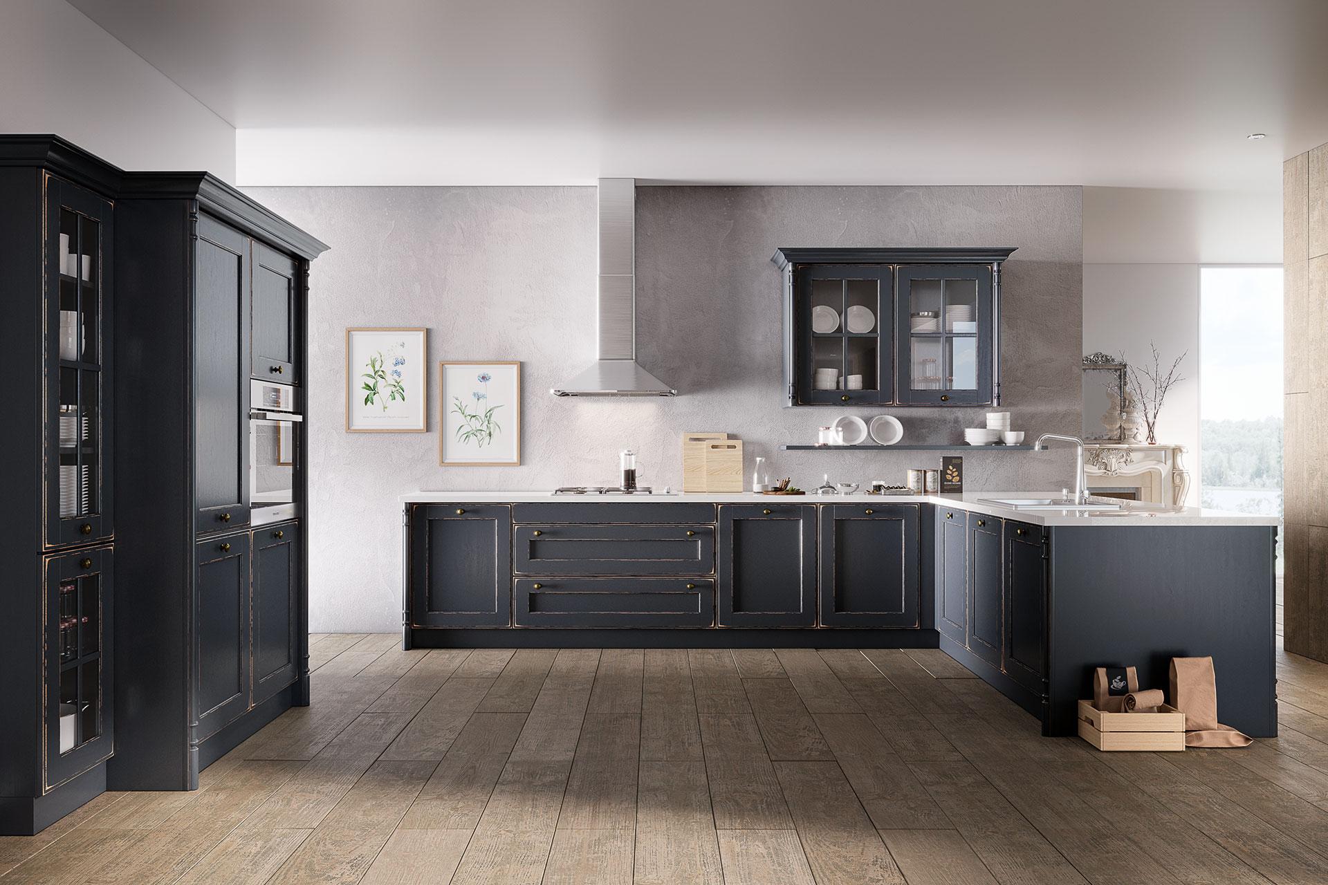 Modell OLDHAM in Night Grey, Gesamtansicht, Oster Küche