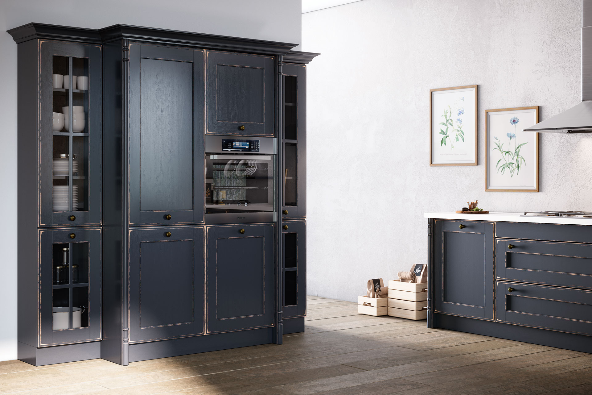 Modell OLDHAM in Night Grey, Detail Hochschrank, Oster Küche