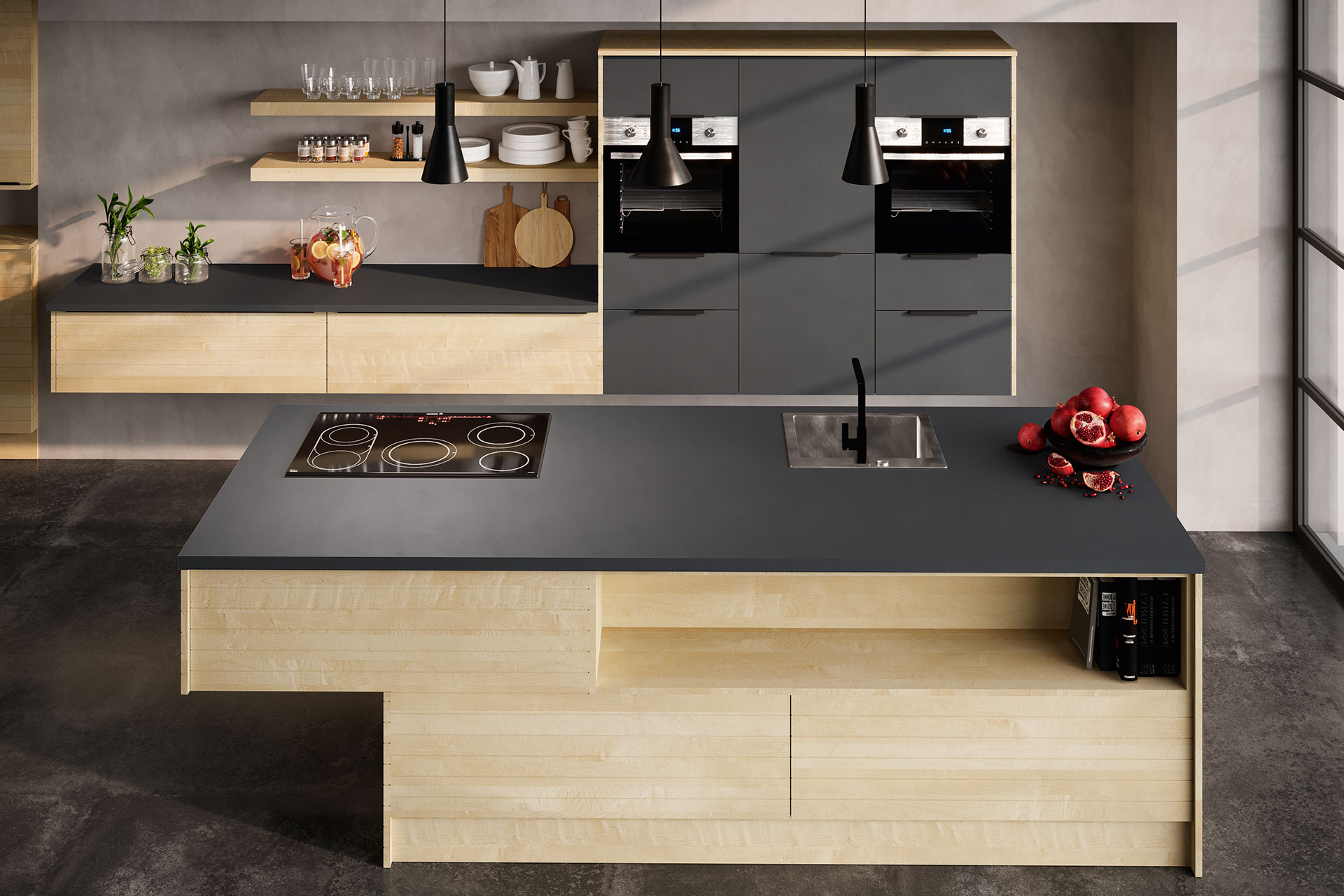 Modell Q-LINE Kücheninsel Frontansicht, Oster Küche