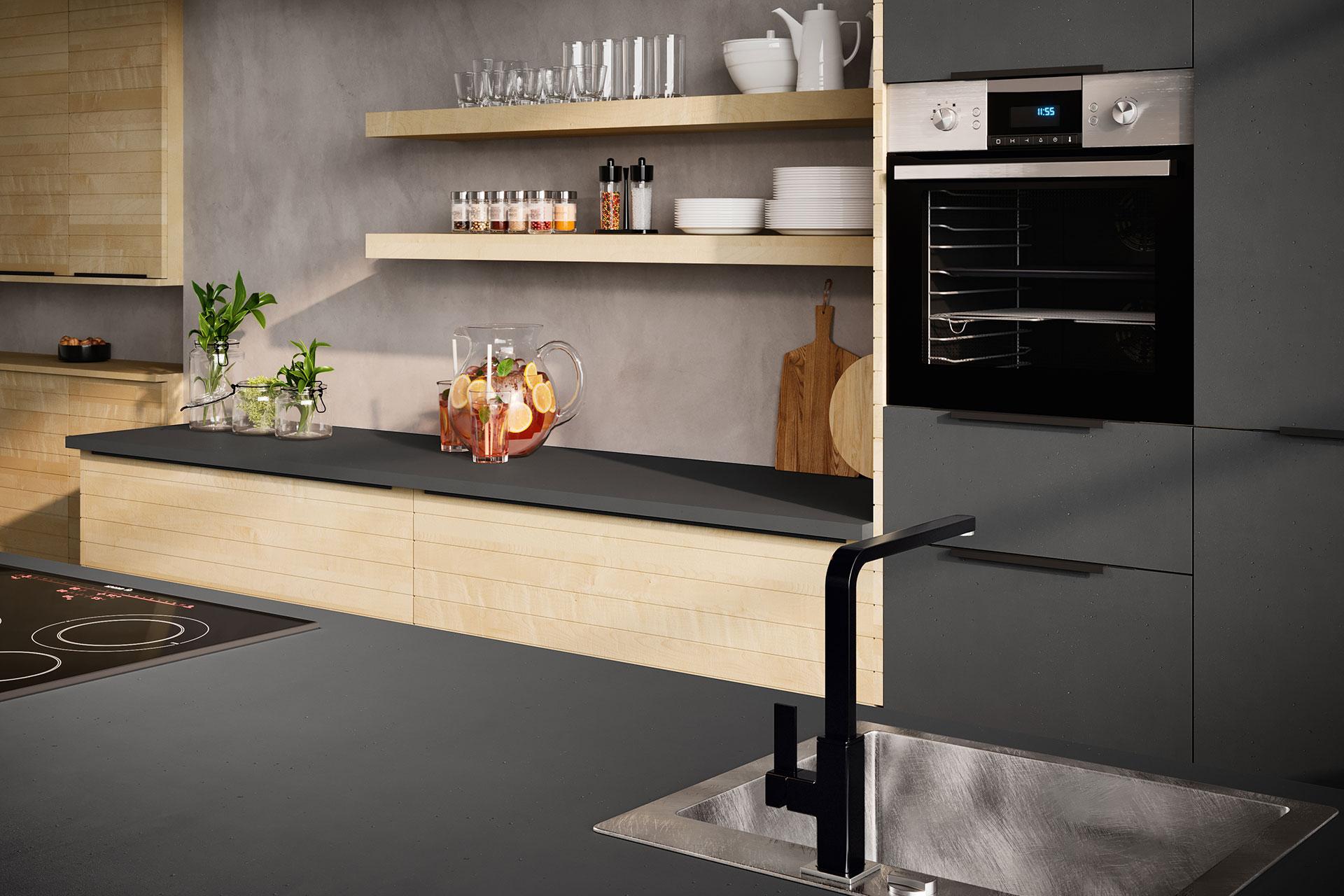 Modell Q-LINE Detail Kücheninsel und Backofenschrank, Oster Küche