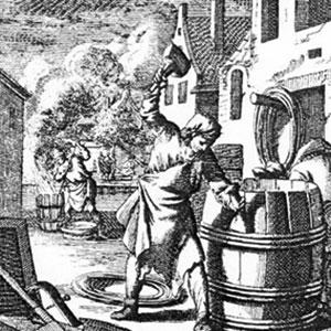 Historische Darstellung eines Küfers