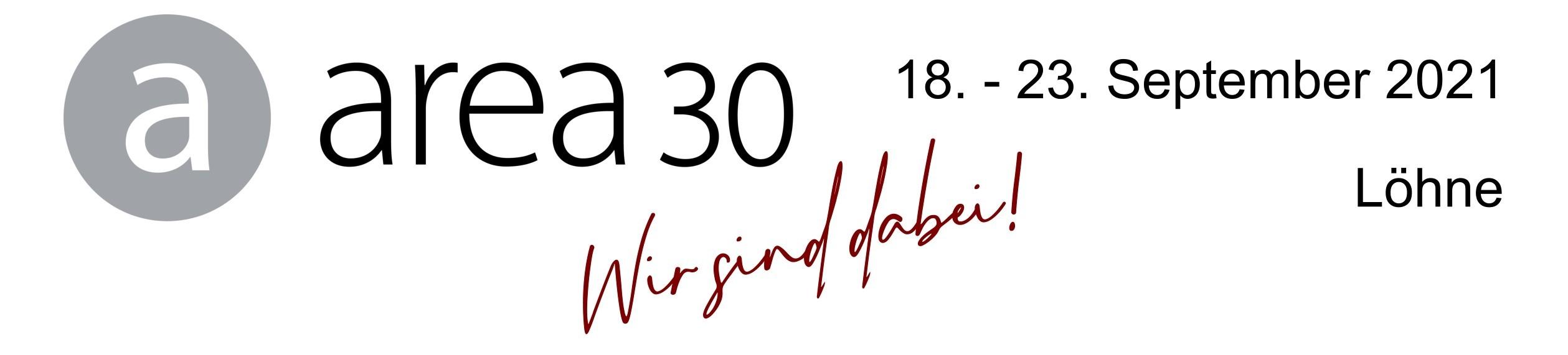 """Banner """"Wirsind dabei! area30, 18.–23. 9. 2021, Löhne"""""""